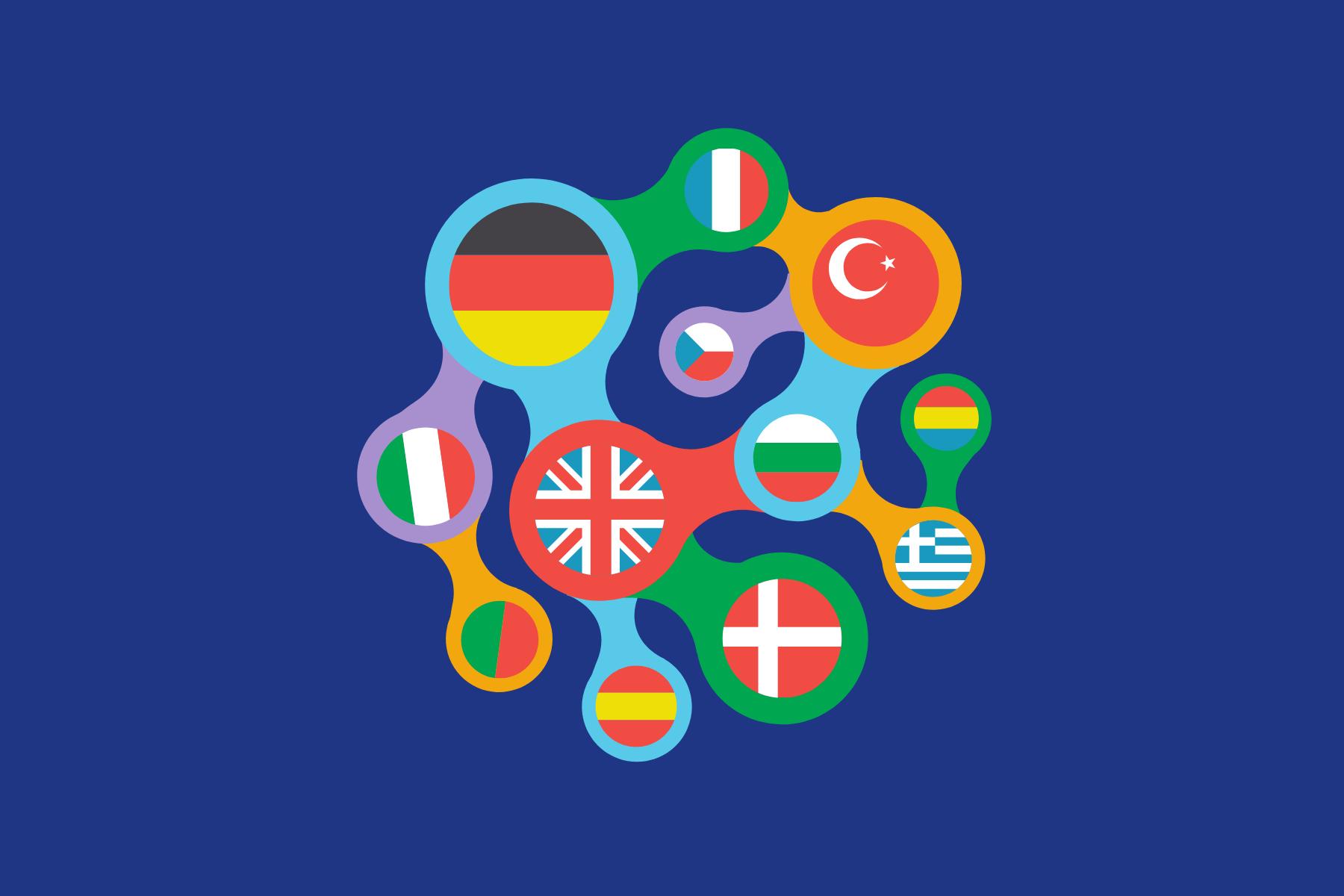 attēls, kas atspoguļo dažādu valodu saikni